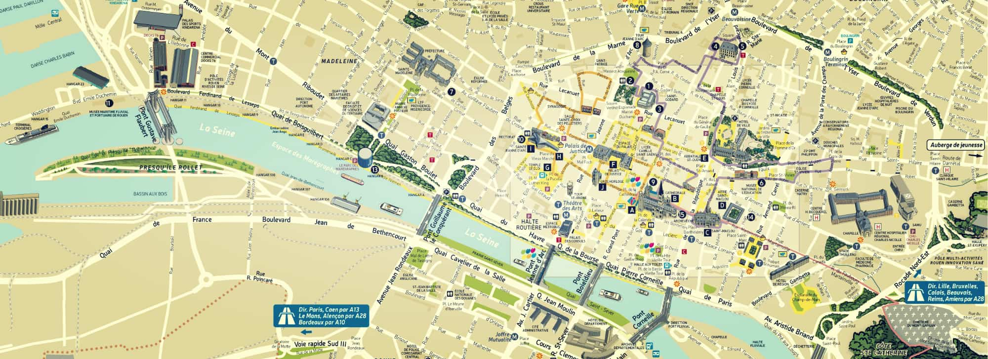Map of Rouen for coach operator: access & practical information